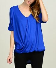 #627 Femmes Designer Taille UK 16 bleu Royal Drape Hi-Low Top Tee T-Shirt Bnwt