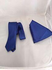 "Royal Blue Poliestere Da Uomo Cravatta & Fazzoletto Set > Skinny 2.5"" = 6cm > P & P 2uk > 1st Class"