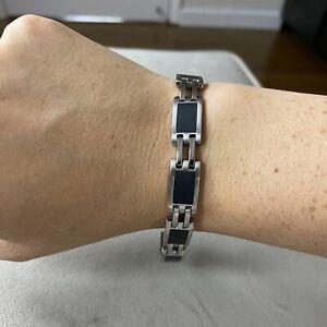 NIKKEN Magnetic & Far Infrared Bracelet Black Enamel & Stainless Steel
