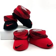 NIKE Infant Booties (0-6M) Red / Black Baby Shower Gift (2 pairs NIB)