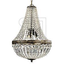 Kronleuchter Lüster Krone mit Behang Kristallbehang gold braun Höhe bis 60 cm