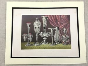 1862 Print Victorian Etched Glass Crystal Powell Rare Antique Chromolithograph