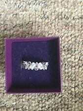 Beautiful Hallmarked 925 Silver Cz And Marcasite Ring Size:n
