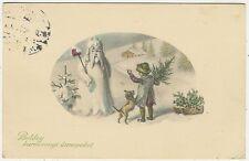 Snowman Dressed Like Santa Claus, Christmas, Old Postcard
