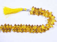 Citrine Gem Color Hydro Quartz Faceted Barrel Briolette Beads 7X10mm 7'' Strand
