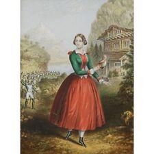 Original C19 Antique Victorian Print Military Battalion Alpine Maid Swiss Chalet