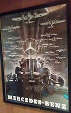 mercedes-benz  B&W poster w/ He111 aircraft&tracked halftrack WW2 advertisngMint