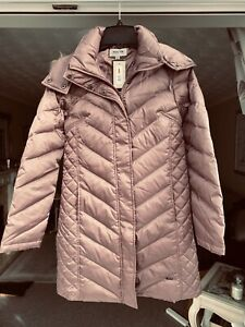 KENNETH COLE FAUX-FUR-TRIM DOWN CHEVRON PUFFER COAT. SIZE: X-SMALL,  DUSTY ROSE
