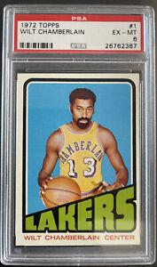 1972 Topps, #1, HOF Wilt Chamberlin, Los Angeles Lakers, PSA 6 EX-MT, Beauty!