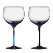 Artland Mirage Set of 2 Gin Glasses Iridescent Coloured Decorated Stem Modern