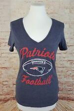 New England Patriots Football Women's S T-Shirt Cap Sleeve Tee Heathered Blue