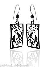 Black Bird Earrings - 925 Sterling Silver Ear Wires - Two Birds Tree Branch NEW