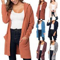 ]Women Long Sleeve Solid Pocket Cardigan Tops Hoodie Sweater Knitted Hooded Coat