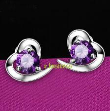 Amethyst CZ Earring Austrian Crystal Heart Lady Earrings Studs 18K White Gold GP