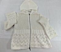 CAbi White 100% Cotton Knit Zip Front Hooded Cardigan Sweater Womens Medium