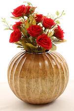 """Wooden Decorative Vase 8"""" Globe with Chiselled Segments Handmade Mango Wood"""