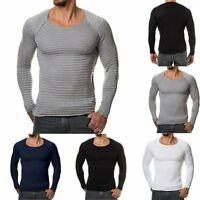 Men's Tee Shirt Slim Fit O Neck Long Sleeve Muscle Casual Tops T Shirts Shirts