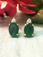 14K Yellow Gold Over 4.12 Ct Oval Green Emerald Tortoise Solitaire Stud Earrings