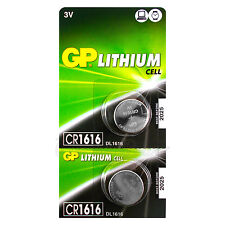 2 x GP Lithium CR1616 batteries 3V Coin Cell DL1616 KCR1616 BR1616 EXP:2025