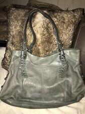 B. Makowsky Gray Croc Embossed Large Leather Hobo Purse Handbag