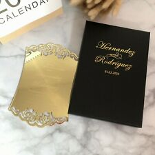 Free shipping Personalized gold acrylic Wedding Invitation cards with boxes