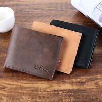 Men's Business Leather Wallet ID Credit Card Holder Short Bifold Wallet Pockets·
