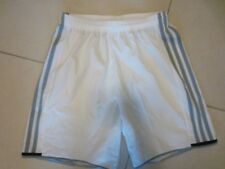 MENS ADIDAS CLIMALITE WHITE GRAY STRIPED SPORT SHORTS SMALL COMFY ELASTIC WAIST