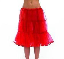 Long Red Underskirt - Ladies Fancy Dress 50s Womens Petticoat Costume Accessory