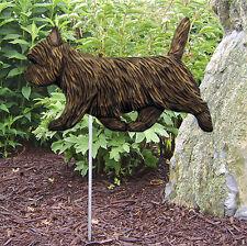 Cairn Terrier Outdoor Garden Dog Sign Hand Painted Figure Black Brindle