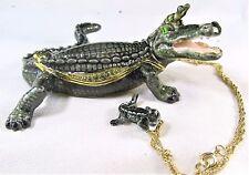 "62734 Alligator "" Jaws ""~ ~ Bejeweled Enamel Trinket Box"