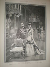 Queen Consort Margherita of Savoy and King Umberto I of Italy 1891 old print