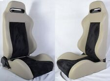 NEW 2 GRAY & BLACK PVC LEATHER RACING SEATS RECLINABLE w/ SLIDER ALL TOYOTA *