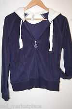 Gap Body Womens Hoodie Sport Zip Jacket Coat Navy Blue White Terry Cloth M 8 10