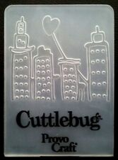 Cuttlebug Small Embossing Folder HEART ABOVE TOWER BLOCKS fits Sizzix Big Shot