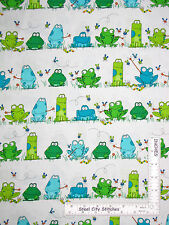 Frog Toad Bugs Frogs Green White Cotton Fabric Benartex #4814 Leap Frog ~ YARD