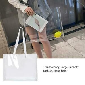 Women PVC Clear Transparent Shoulder Tote Bag Jelly Candy Summer Beach Handbag #