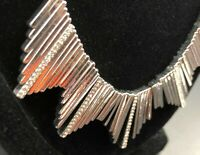 FANTASTIC BRUTALIST Bib Statement Necklace Rhinestones Silver Tone Metal Choker