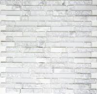 Mosaik Fliese Glasmosaik Natursteinmosaik mix weiss Wand Bad Art: 87-v1311_b