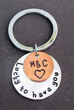 Lucky to Have You Gift for Bride/Groom W/Penny Coin Keychain,Couples Key Chain