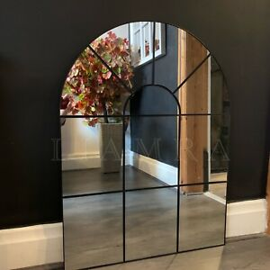 Enchanted Black Arched Window Mirror Large Black Window Style Wall Mirror 80x60