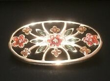 Ladies Brooch Gold Tone Cloisonne Enamelled Oval Shaped