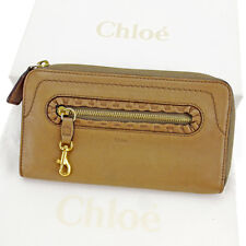Chloe Wallet Purse Long Wallet Brown Gold Woman unisex Authentic Used S536