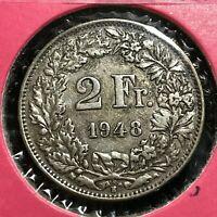1948 SWITZERLAND SILVER 2 FRANCS COIN BETTER GRADE