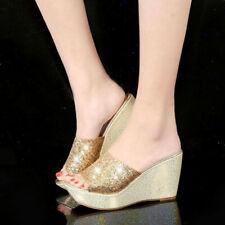 Women's Bling Glitter Sandals Platform Wedge Heels Peep Toe Slippers Shoes Size
