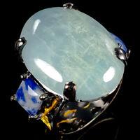 Handmade24ct+ Natural Aquamarine 925 Sterling Silver Ring Size 7.75/R116656