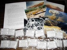 Mount St Helens 15 volcanic ash pumice samples 4-400 miles frm volcano + photos