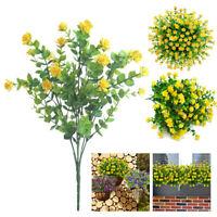 4 Bundles Artificial Flowers Durable Plastic Fake Plants Faux Uv Resistant Decor