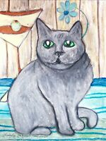 Exotic Shorthair Cat Drinking Martini collectible ACEO PRINT Art 2.5 X 3.5 KSams