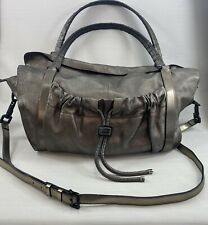 Authentic Burberry Pewter Leather Large Shoulder Crossbody Bag Nova Check Lining