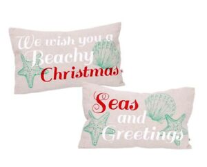 Wish You Merry Christmas Seas and Greetings Accent Throw Pillows Set of 2